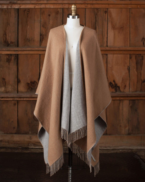 Alicia Adams Alpaca Reversible Blanket Cape, alpaca poncho cape for women, alpaca poncho, alpaca poncho womens, camel and light grey alpaca cape