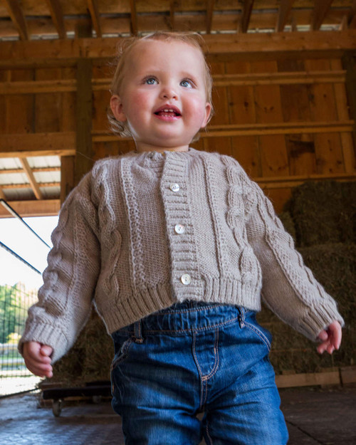 Alicia Adams Alpaca Favorite Cardigan, alpaca sweater for children, kids alpaca cardigan, cable knit childrens sweater, light taupe alpaca cardigan