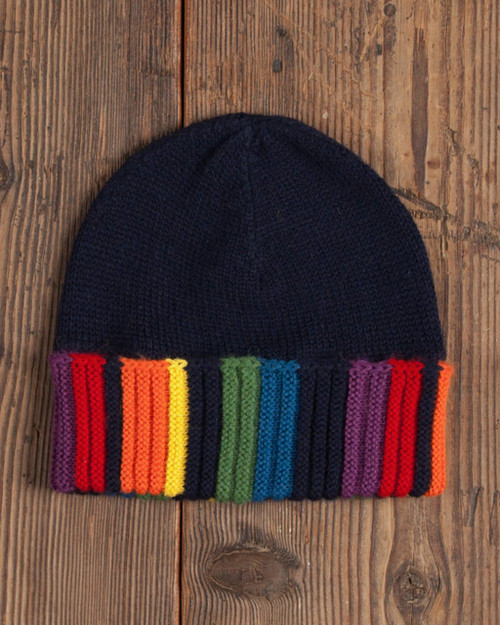 Alicia Adams Alpaca Rainbow Beanie, rainbow beanie hat, alpaca beanie hat, alpaca vs cashmere, knit beanie hat, black and rainbow alpaca hat