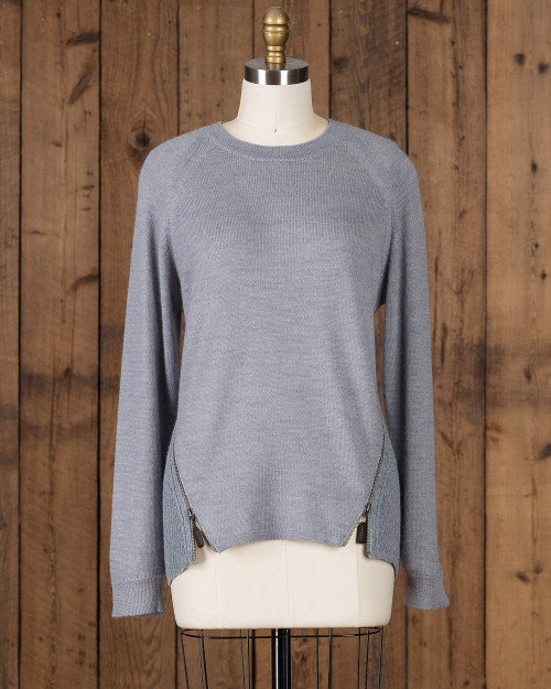 Alicia adams alpaca lea zip, womens alpaca zip sweater,alpaca sweater, womens alpaca long sleeved sweater, alpaca vs cashmere, chambray blue alpaca sweater