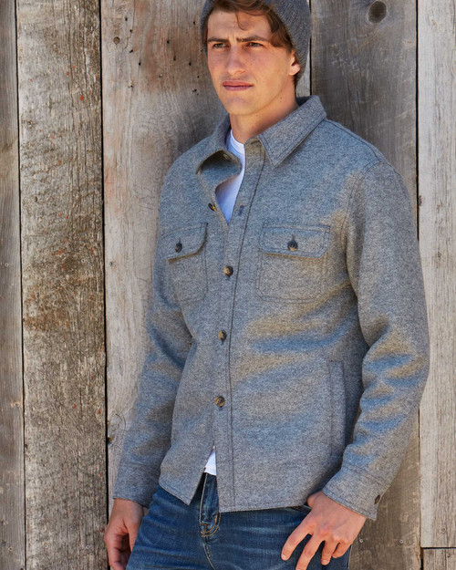 alicia adams alpaca osborne jacket, mens alpaca shirt jacket, alpaca outerwear for men, alpaca jacket, dark grey mens alpaca shirt jacket
