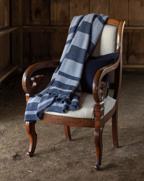 Alicia Adams Alpaca Malibu Throw lightweight, blanket, acclaimed by Wall Street Journal, Southern Home, New York Times, in 100% baby alpaca lightweight, all fair-trade made, sustainable, softer than cashmere, breathable, striped, beachy, California style, chambray/blue denim
