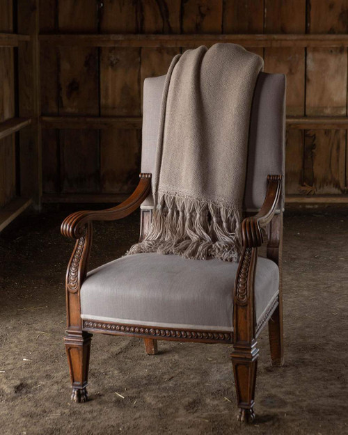 Alicia Adams Alpaca Cable Cayman Throw, boho, beachy, informal, acclaimed by Vogue, Southern Home, New York Times, in 100% baby alpaca open weave soft color, all fair-trade made, softer than cashmere, tassels ,  light taupe