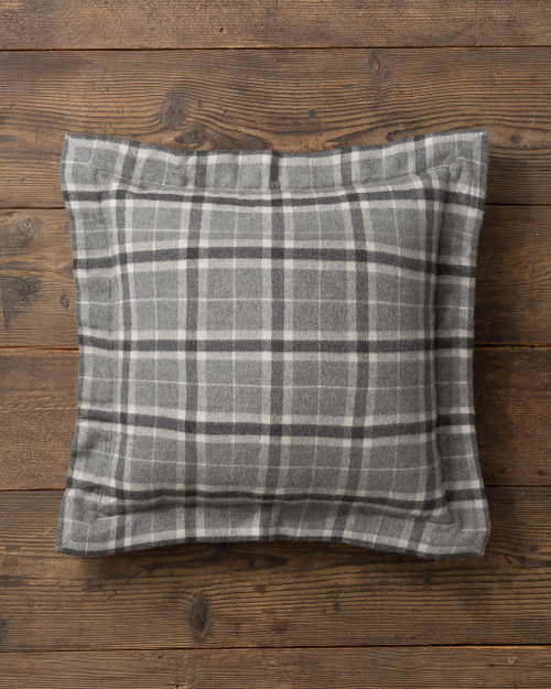 Alicia Adams Alpaca Aberdeen Euro Pillow, baby alpaca euro sham pillow, luxury alpaca bedding, acclaimed by Wall Street Journal, Traditional Home, New York Times, in 100% baby alpaca lightweight soft color, plaid, dark grey, charcoal, all fair-trade made, sustainable, softer than cashmere