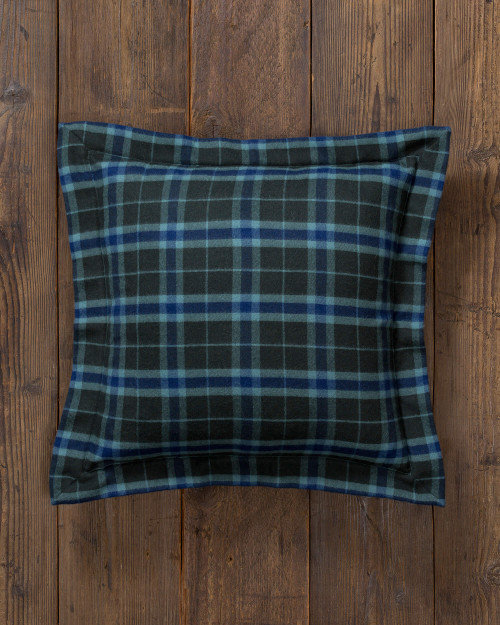 Alicia Adams Alpaca Aberdeen Euro Pillow, baby alpaca euro sham pillow, luxury alpaca bedding, acclaimed by Wall Street Journal, Traditional Home, New York Times, in 100% baby alpaca lightweight soft color, plaid, velvet green, indigo, all fair-trade made, sustainable, softer than cashmere