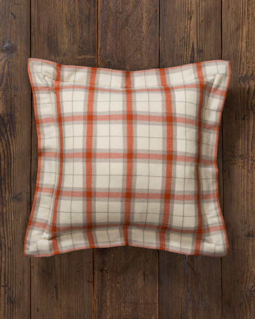 Alicia Adams Alpaca Aberdeen Euro Pillow, baby alpaca euro sham pillow, luxury alpaca bedding, acclaimed by Wall Street Journal, Traditional Home, New York Times, in 100% baby alpaca lightweight soft color, plaid, ivory, orange, all fair-trade made, sustainable, softer than cashmere
