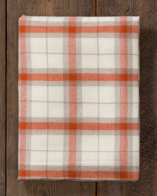 Alicia Adams Alpaca Aberdeen Throw baby alpaca, blanket, acclaimed by Vogue, Southern Home, New York Times, Homes and Gardens in 100% baby alpaca soft color, ivory, orange, plaid, all fair-trade made, sustainable, softer than cashmere, organic