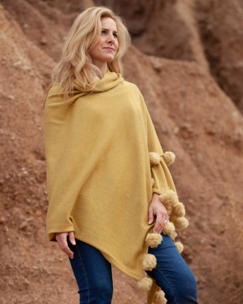 Alicia Adams Alpaca Dandi Wrap, lightweight alpaca wrap with pompoms, alpaca poncho, all fair-trade made, alpaca vs cashmere, french yellow alpaca wrap