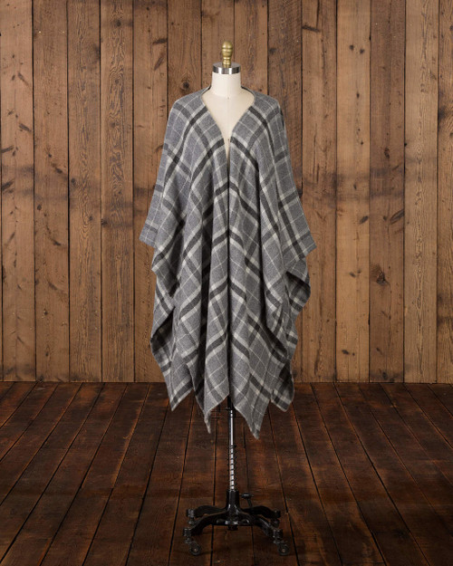 Alicia Adams Alpaca Aberdeen alpaca cape, Gray and White Baby Alpaca Cape, womens alpaca cape, women's plaid alpaca cape, womens plaid alpaca poncho