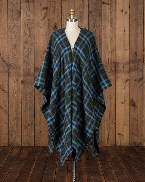 Alicia Adams Alpaca Aberdeen alpaca cape, Navy Blue and Green Baby Alpaca Cape, womens alpaca cape, women's plaid alpaca cape, womens plaid alpaca poncho