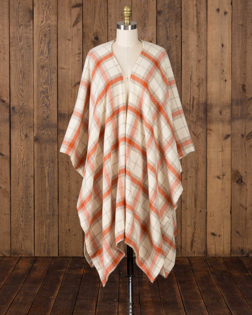 Alicia Adams Alpaca Aberdeen alpaca cape, Grey, Cream White, and Orange Baby Alpaca Cape, womens alpaca cape, women's plaid alpaca cape, womens plaid alpaca poncho