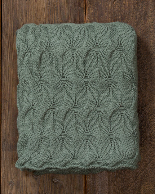Alicia Adams Alpaca Everglades Throw blanket, vintage, heirloom, chunky, acclaimed by Wall Street Journal, Traditional Home, New York Times, in 100% baby alpaca lightweight soft color, sage green, all fair-trade made, softer than cashmere