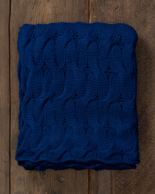 Alicia Adams Alpaca Everglades Throw, cable knit alpaca throw blanket, alpaca throw, fair trade alpaca bedding, admirals blue alpaca throw