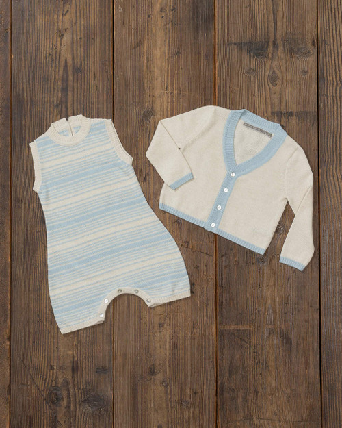 Alicia Adams Alpaca Samie Onesie and Cardigan set is the ultimate gift for baby and mommy, baby alpaca onesie, baby alpaca clothing set, baby alpaca cardigan, baby blue and ivory