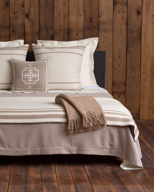 Alicia Adams Alpaca Mazing bedding blanket, queen alpaca bed blanket, tan and cream alpaca blanket