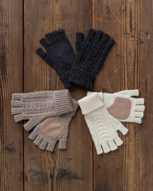 Alicia Adams Alpaca Dixie Driving Gloves, baby alpaca gloves, alpaca fingerless gloves, 100 baby alpaca gloves, neutral color alpaca gloves