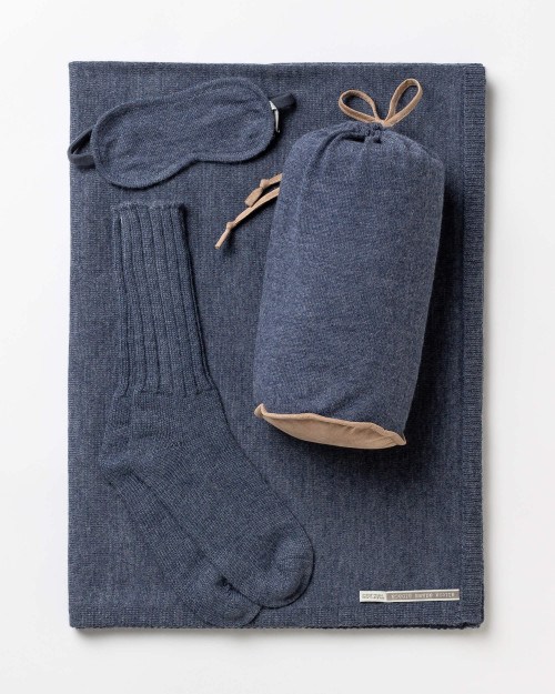 Alicia Adams Alpaca Globetrotter Travel Blanket Set, alpaca socks, alpaca travel blanket, travel kit with blanket and eyemask, denim blue plane travel set