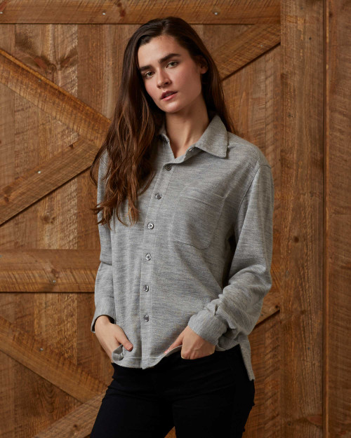 Alicia Adams Alpaca 100% Baby Alpaca Knit Button Down Blouse, 100% baby alpaca womens shirt, grey womens alpaca top, luxury alpaca sweater, luxury alpaca top, luxury alpaca blouse, womens alpaca button down shirt, casual button down alpaca shirt, alpaca shirt for her, casual friday alpaca top, grey alpaca button down shirt