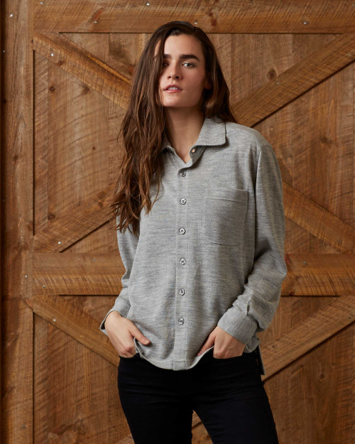Alicia Adams Alpaca Knit Shirt for Women, 100 baby alpaca womens shirt, alpaca top, alpaca blouse, alpaca shirt, pearl grey alpaca button down shirt