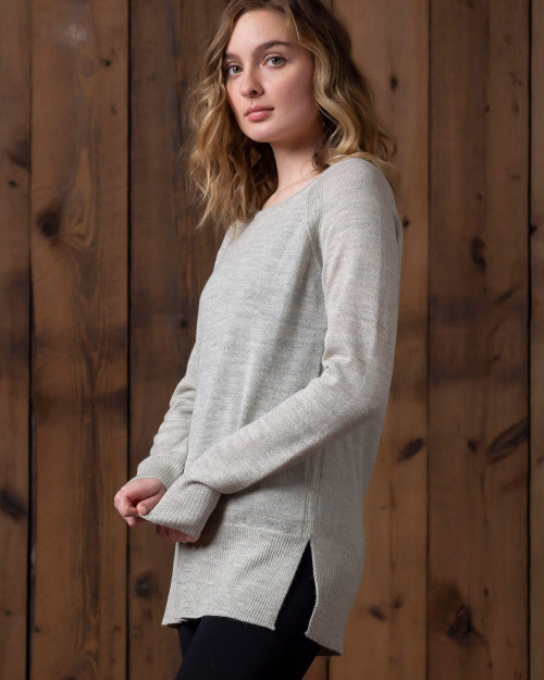 alicia adams alpaca brooke sweater, womens alpaca sweater, 100 alpaca sweater for women, lightweight alpaca sweater, carbon grey womens alpaca sweater