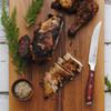 Messermeister Avanta Pakkawood Steak Knife Set 4Pc (L8684-5/4S) in use chicken