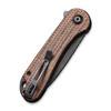 CIVIVI Elementum Dark Brown Micarta Black Tanto (C907T-C) closed clipside