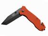 Black Tusk Rescue Knife Orange + Favourlight Sirius Rechargeable Flashlight (WEB20)