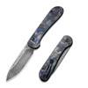 CIVIVI Button Lock Elementum Blue Carbon Fiber Damascus (C2103DS-1)