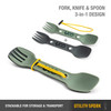 UCO Gear Utility Spork 2Pc With Tether Green (F-SP-UT-2PK-GREEN-COAL) features