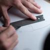 Knafs Titanium Ruler + Knife Angle Finder Blue (KNAFS-00018) in use ruler
