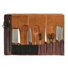 Knife Roll Company Torino Ranch Dark Brown 10 Slot Knife Roll (KR21002) open filled