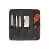 Knife Roll Company Iris Roll Grey 5 Slot (KR-IR-GR01) open filled