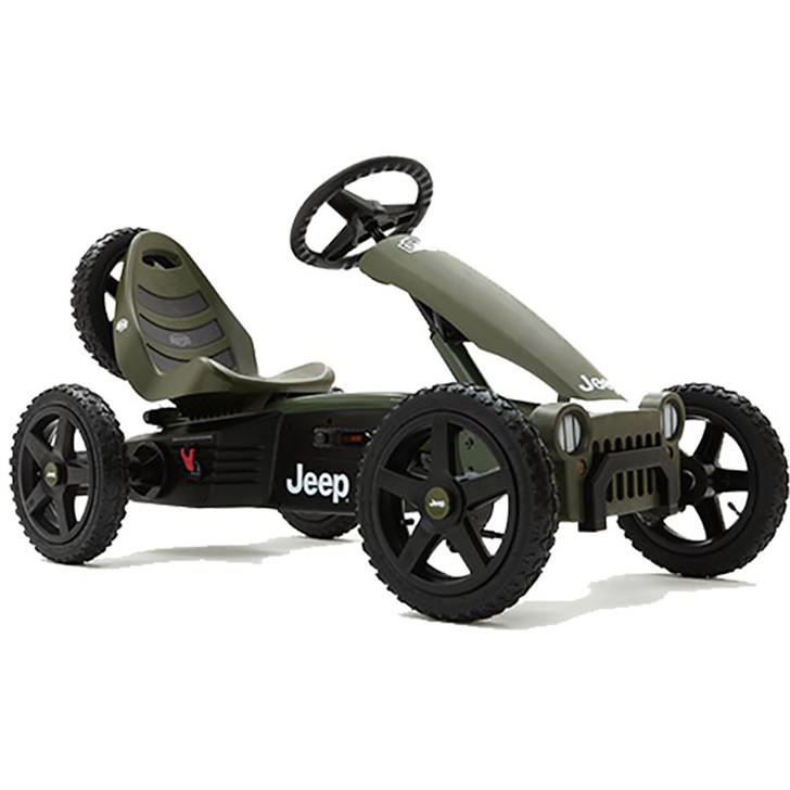 Berg Jeep Adventure Pedal Go Kart Green_1 Side View - Eurocycles