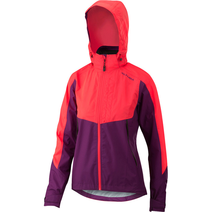 Altura Womens Nightvision Thunderstorm Black with colour reflective fabric pink front