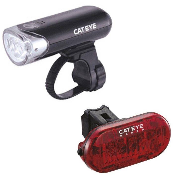 Cateye EL135 Front Light and Omini 5 Rear Light Set