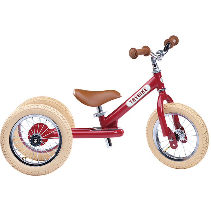 Trybike Girls Steel 2 in 1 Side - Vintage Red - 2 to 6 years old - Eurocycles