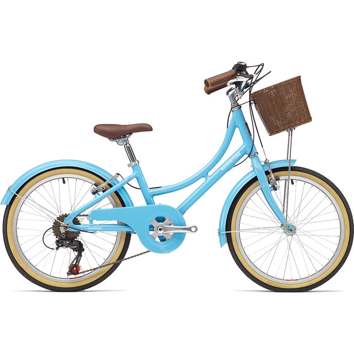 Adventure Outdoor Co. Bluebell 20 inch Bike in blue with front basket. - eurocycles.com