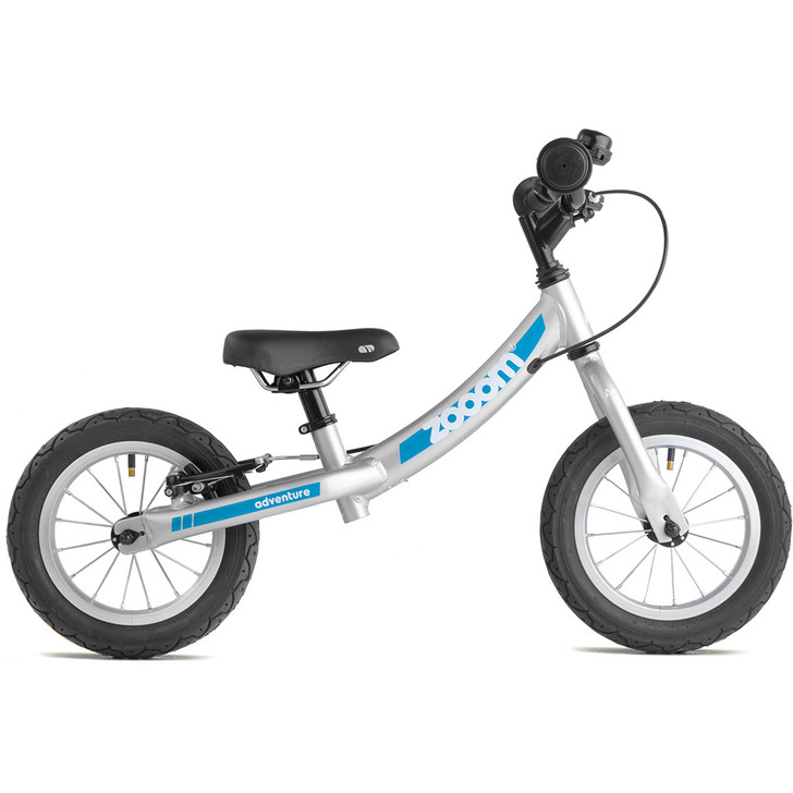 Adventure Zooom Grey Balance Bike side view for boys and girls 2 to 4 years old - eurocycles