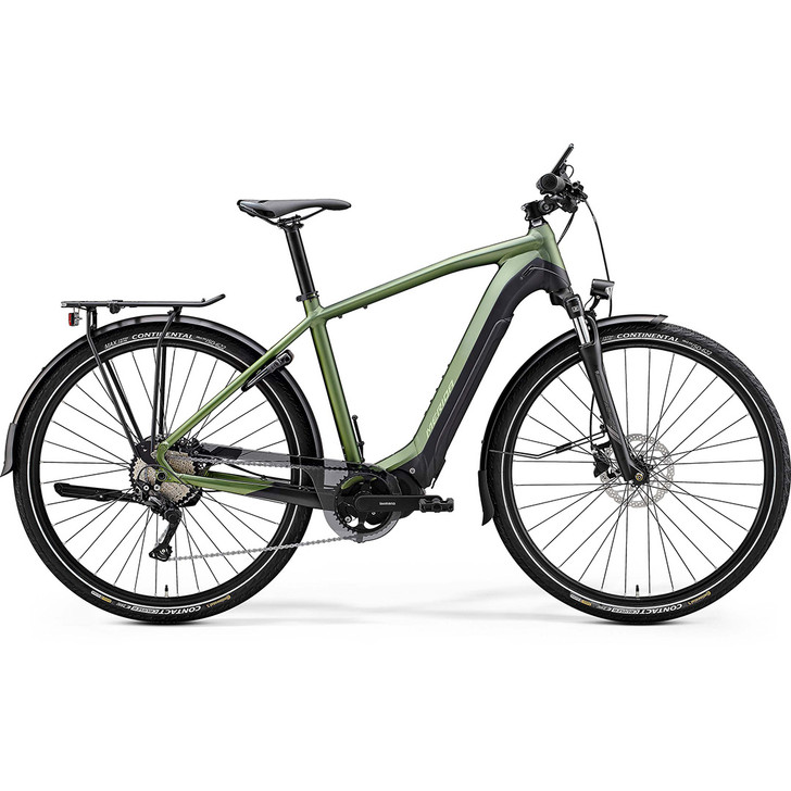 Merida Mens eSpresso 400 EQ hybrid ebike complete with lights, mudguards, rear rack, chainguard and Abus frame lock.