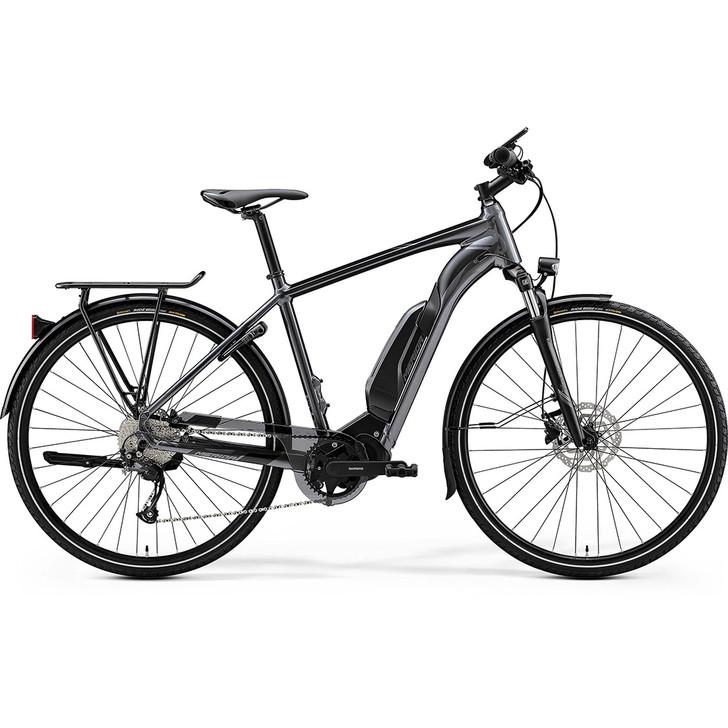 Merida Mens Espresso 300EQ SE Electric Hybrid Bike in a stylish matt black colour with Shimano high quality components
