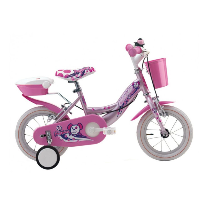 "Cicli Cinzia Puppies 12"" Girls bike in purple for 2 to 4 years old with baskets and mudguards"