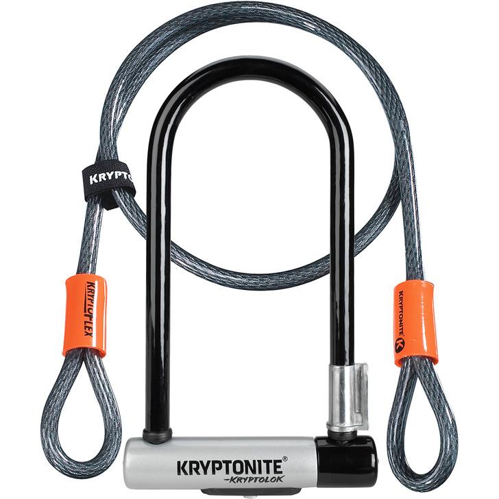 Kryptonite Kryptolock Standard U Bike Lock with 4 ft Kryptoflex Cable