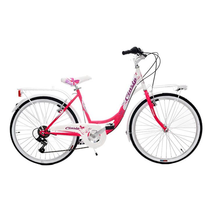 "Cicli Cinzia 24"" Liberty Girls Bike Fuschia/White"
