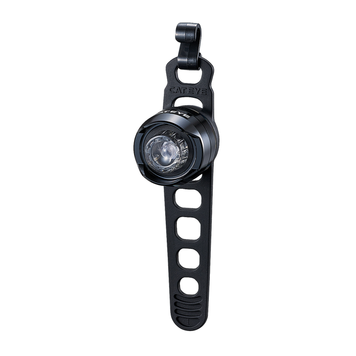 Cateye Orb Rechargeable Front Light - Front view with strap