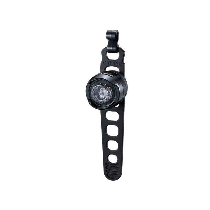 Cateye Orb Battery Front Light- Front view with strap
