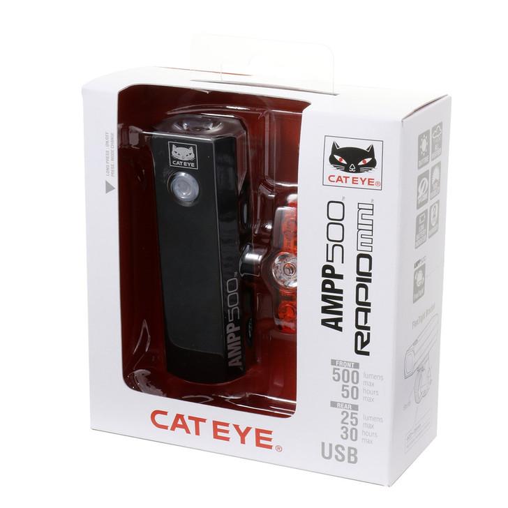Cateye Ampp 500 & Rapid Mini Front & Rear Light Set- Packaging view