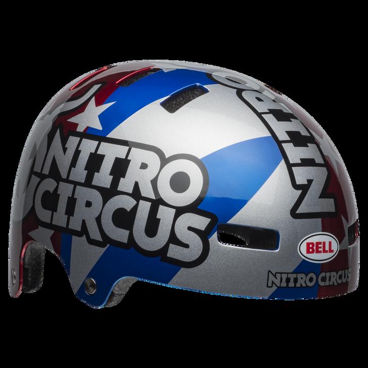 Bell Local BMX/SKATE Helmet NITRO CIRCUS GLOSS SILVER/BLUE/RED