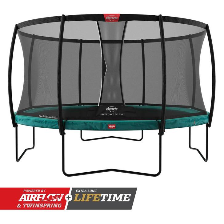 BERG Champion Regular Trampoline 270 Green + Safety Net Deluxe