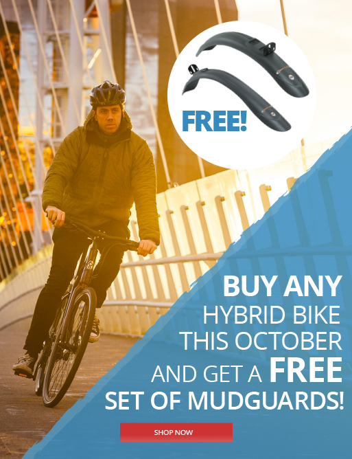 Free mudguards with hybrid bikes this october at Eurocycles