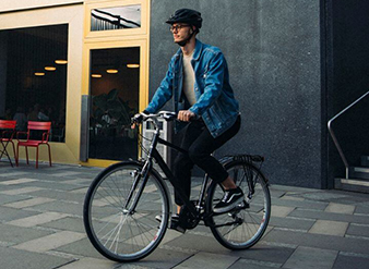 commuting to work on a raleigh city bike